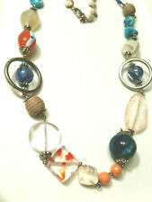 Chico fun necklace w metal, shells, glass, blue multi mix beads 36 inch