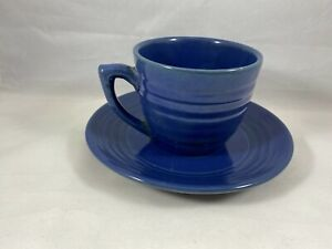 Bauer Pottery Ringware Blue Coffee Cup And Saucer Excellent Condition - GA
