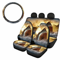 Ocean Animals Car Front Rear Seat Cvers with Steering Wheel Cover 5pcs Full Set