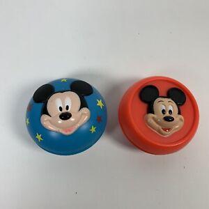 Yo-Yo ARCO Red 3-D Mickey / Donald & Blue Mickey Mouse Yoyo Vintage Disney