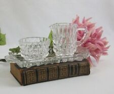 Vintage Crystal Cream and Sugar Service Set with Tray
