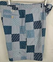 Vineyard Vines Men's Patchwork Shorts Blue Size 36x8 Stain Flaw See pics