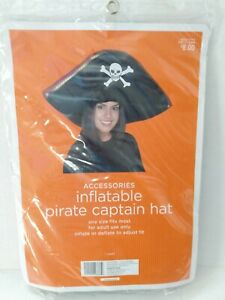 Halloween Accessories Adult Inflatable Pirate Captains Hat tri-corn one-size New