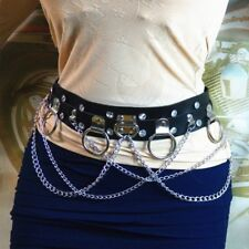 Punk Faux Leather Belt Metal Chain Ring Waist Strap Dance Gothic Binding Harness
