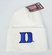 DUKE BLUE DEVILS WHITE NCAA BEANIE COLOSSEUM ATHLETICS SIMPLE KNIT CAP HAT NWT!