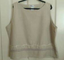 Dress-U-II By Sharon Women's Ladies  Sleeveless Top, Plus size 24W, Beige