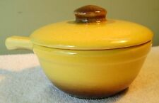 "5"" Vintage Cook N Serve Yellow Brown Drip Baking Dish Casserole W/ Lid Hull 50s"