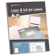 """MACO White Laser/Ink Jet Full Sheet Label 8.5"""" x 11"""" Full Sheet ML0100 100 pk"""