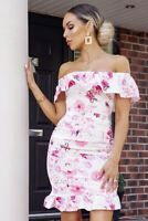 Womens Floral Off Shoulder Short Sleeve Bodycon Casual Party Cocktail Mini Dress