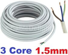20m metros bobina 1.5mm Blanco 240v 3 Core Cable Flexible De Pvc Carrete de Alambre Redondo 3183Y Reino Unido