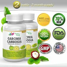 2 BOTTLE GARCINIA CAMBOGIA 1600 MG  70% HCA WEIGHT LOSS DIET BELLY FAT BURNER