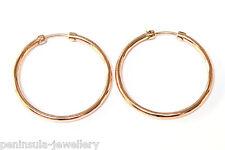9ct Rose Gold 25mm Hoop Sleeper earrings Gift Boxed Made in UK