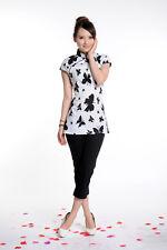 white  chinese women cotton evening top/T-shirts X0328 SZ6 8 10 12 14