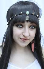 Emerald teardrop Fleur Charme Argent cloutées Festival Hippy FAE Grunge bandeau