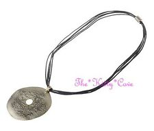 Multi Strand Matt Textured Steel Disc Pale Gold Donut Statement Pendant Necklace