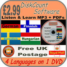 Listen & Learn German Swedish Finnish Hungarian 4 Language Courses DVD mp3