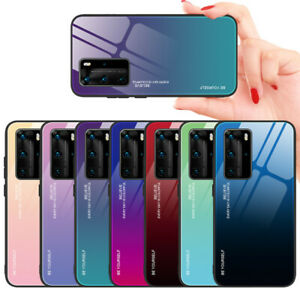 For Huawei P30 P20 Pro / Lite Case Gradient Glossy Tempered Glass Hybrid Cover
