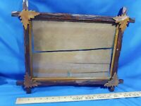 Antique Carved Wood Picture Frame Adirondack Black Forest Leaf Glass Gold Trim