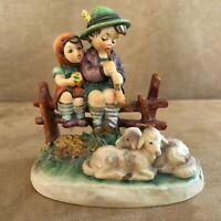 Eventide Hummel Goebel Figurine 99 boy and girl sitting on fence sheep tmk5