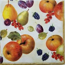 FRUITS APPLES PEARS 2 individual LUNCH SIZE paper napkins for decoupage 3-ply