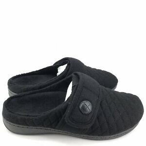 487 Vionic Womens Indulge Carlin Flannel Slipper With Orthotic Arch, Black US 9M