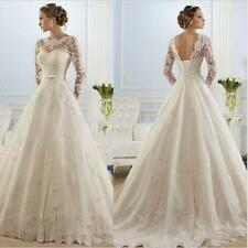 New Lace  Long sleeve White/ivory Wedding dress Bridal Gown Stock Size:6 -18++