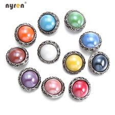 11pcs 18mm Snap Button Imitation Pearl Multi Color For 20mm Snap Jewelry 1193a
