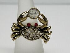 Crab Sparkling Crystal Silver Stretch Ring Fashion Cancer Zodiac>Women'S Men'S