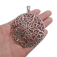 2 Tibetan Silver Large Filigree Round Charms Pendants Jewellery Findings 74x66mm