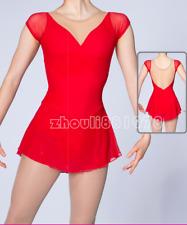 Custom Fashion Ice figure Skating Dress High Elasticity Training Handmade Red
