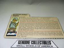 """""""Vintage"""" G.I.Joe HELICOPTER ASSAULT File Card"""