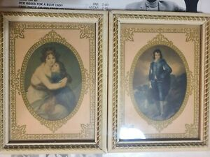 """Two Vintage Thomas Gainsborough """"Blue Boy"""" and Mother with child framed mini."""