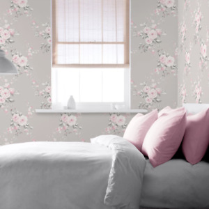 Catherine Lansfield Canterbury Grey and Pink Floral Wallpaper 165503
