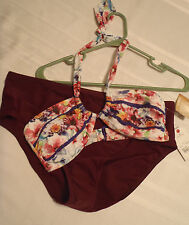 Arizona Small Halter Swim top St John's Bay SZ 10 French Wine Swimsuit Panty Set