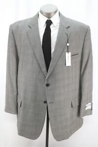 NEW $419 gray plaid JOSEPH & FEISS 2pc Pant Suit classic wool two button 54 R