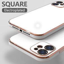 Para iPhone 11 Pro Max XS XR 8 7 Funda Delgada Suave con Revestimiento cuadrado