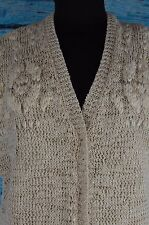 Brunello Cucinelli Sz L Sweater Vest Cardigan Cream Crochet Silk Layered Monili