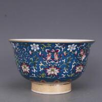 Chinese Famille Rose Porcelain Blue Glaze Qing Qianlong Lotus Design Bowl