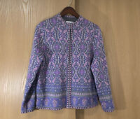 Pendleton Merino Wool Sweater Womens Petite Large L Purple Parsley Full Zip