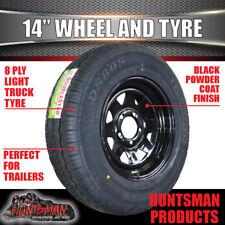 14 x 6 195 LT Black Sunraysia Wheel Rim & Tyre suit Ford. Trailer Boat Caravan