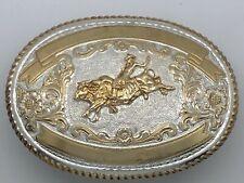 LARGE Vintage Crumrine Belt Buckle Bucking Bull Rider Rodeo Western Cowboy