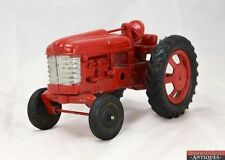 Vintage 1950's Hubley Metal Diecast Rubber Tire Steering Red Toy Farm Tractor