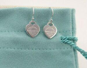 Mini Heart Earrings Return to Tiffany & Co Sterling Silver Hook Dangle Pierced