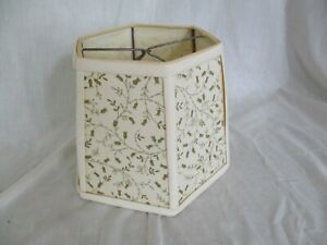 """Vintage Fabric Clip On Lampshade Ivory W/Gold Little Flowers 6 Panel 6"""" H x 7"""" B"""