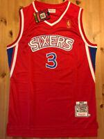 BRAND NEW Allen Iverson #3 Men's Rookie Philadelphia 76ers Red Throwback Jersey