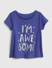 Gap Baby Girl Toddler Short Sleeve T-Shirt 100% Cotton Awesome Blue Size 3T Nwt