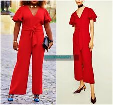 00b33eb354 New listingSTUNNING ZARA RED LONG V-NECK JUMPSUIT WITH BOW SIZE XS