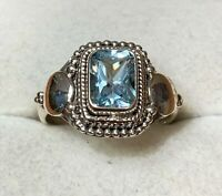Natural 3ct Sky Blue Topaz 925 Solid Sterling Silver Emerald Cut Ring Size 7