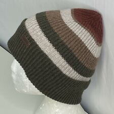 Barbour Men's Stirling Soft Knit Striped Wool Beanie Logo Tab Brown/Tan NWOT