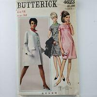 Butterick Pattern 4623 UNCUT - Misses' Coat and Dress Size 12 Vintage 1960s